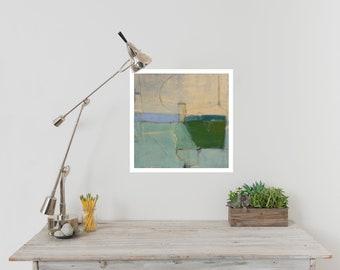 Abstract Landscape Print on Paper, Large Paper Print, Minimal, Minimalist Art, Green Coastal Art Wall Decor, Landscape Art
