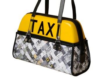 Taxi bag handbag, FREE SHIPPING, real cab top light, Women Fashion Handbag, Unique Designer Handbag for Ladies, Recycled Upcycled  handbag