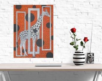 Giraffe Artwork, 24x36 Canvas Print, Gallery Reproduction, Orange Black White, Wildlife Drawing, Animal Art, Geometric, Safari Decor