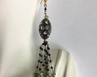 1.5ct Diamond 22ct Labradorite Briolette Peridot long Chandelier Tassel Earrings 18k Gold GF and Sterling Silver