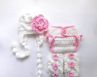 ON SALE 15% SALE Newborn Baby Girl Outfit  , Hat , Diaper Cover and Leg Warmers - Set - Newborn Baby Girl Outfit