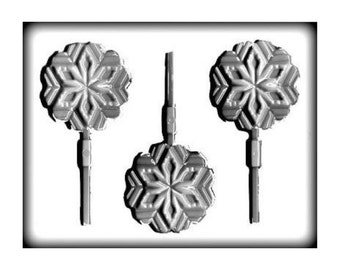 Snowflake Hard Candy Sucker Lollipop Mold - 3 Inch -  Candy Molds Party Treats Sweets DIY Food Crafting Supplies