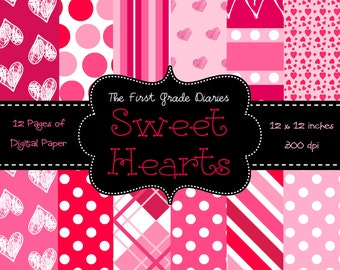 Sweet Hearts Valentines Day Digital Paper Set --BUY 2, GET 1 FREE
