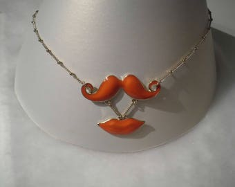 orange mouth and mustache necklace 46cm