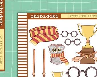 Cute Gryffindor Items Planner Sticker Set    Erin Condren Planner  Kikki K   Filofax   Plum Planner    Happy Planner
