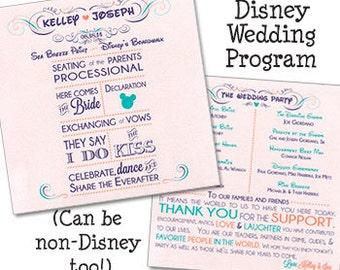 Disney Themed Fan Wedding Program Disney Wedding Fan Programs Mickey Mouse Wedding Program Fan 2 Sheets