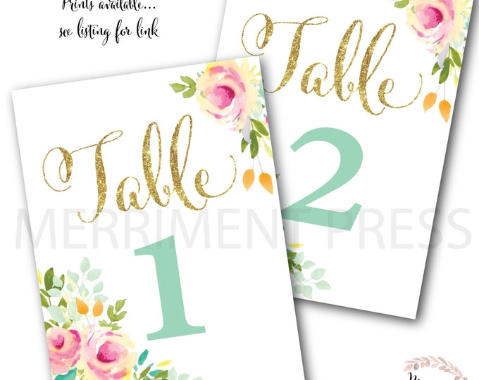 Table Numbers Instant Download// Numbers 1 through 20 // Pink // Gold Glitter // Mint // Yellow //  Made to Match our MALIBU COLLECTION