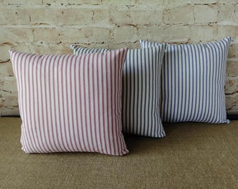 Ticking Pillow - Ticking Stripe Pillow - Black Ticking Pillow - Red Ticking Pillow - Blue Ticking - French Ticking - Farmhouse Ticking
