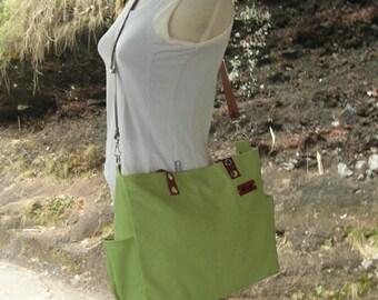 Grass green tote messenger bag men leather strap canvas tote bag women shoulder bag cross body bag vegan bag, personalized gift engraved