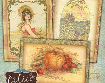 Simply Autumn, Printable, Journal Cards, Digital, Collage Sheet, Journaling Cards, Journal Tags, Fall, Harvest, , Printable Tags, ATC Size