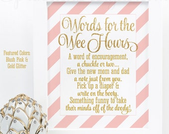 Baby Shower Games, Words For The Wee Hours, Words of Wisdom Late Night Diapers Blush Pink Gold Glitter Printable Baby Girl Shower Game Ideas
