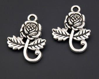 30pcs Antique Silver Flower Rose Charms Pendant A2352