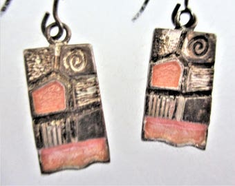 Abstract Earrings Dangle Earrings Color Block Painting Artwork for your Ears Pierced Orange Bronze Vintage Boutique Jewelry Artist Gift