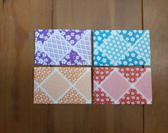 Handmade FLoral Mini Envelopes - Business Card Envelope, Set of 8, Gift Card Envelopes - Origami Paper Geometric theme