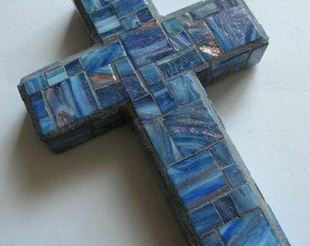 Blue Copper Mosaic Cross, Contemporary Cross, Father's Day Cross, Baptism Cross for Boy, Groom Gift, First Communion Gift, Gift for Granddad