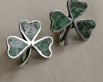 Early Mexican Sterling Crushed Stone Shamrock Earrings Screw Backs