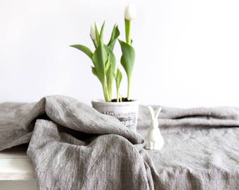 Grey Striped Tablecloth made of natural and stone washed linen