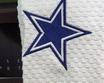 Custom embroidered Tea Towel all cotton with a waffle weave.