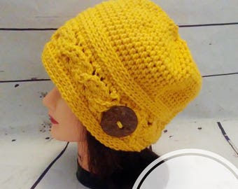 Lemon Sunrise Crocheted Cable Slouch Hat for Women, Button hat, Slouch Beanie