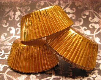 50 Gold Foil Baking Cups/ Gold Cupcake Wrappers/ Gold Cupcake liners