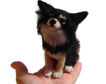 Custom Dog Portrait felted Chihuahua sculpture pet memorial pet loss