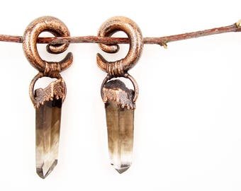 Smoky Quartz Ear Weights | Large Gauge Smoky Quartz Crystal Earrings | Phantom Quartz | Lincoln County New Mexico Smoky Quartz | Copper