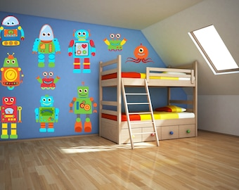 Robot Wall Art - Robot Wall Decal - Boys Room Wall Decal - Boys Room Wall Art