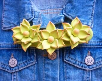 Statement necklace Cactus necklace Wedding necklace Green succulent necklace Flower bib necklace Mexican necklace Floral bib necklace Mexico