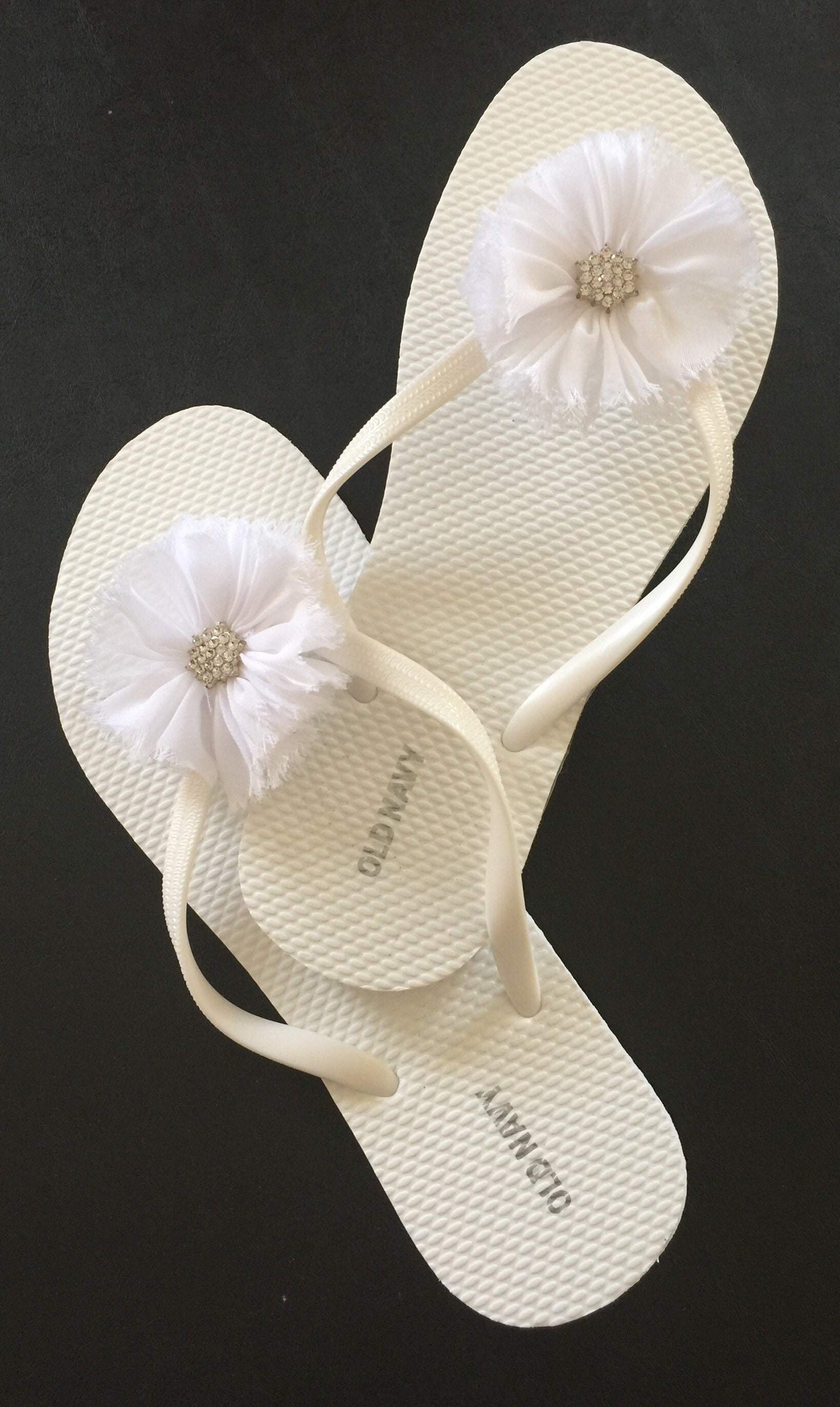 Bridal Flip Flop Wedding Flip Flops Shabby Chic Flower White Flip