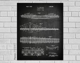 Blueprints etsy suspension bridge truss bridge bridge blueprint bridge print bridge wall art malvernweather Gallery