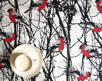 """Tablecloth white red birds black tree brunches 56""""x56"""" or made to order your size, also curtains available, great GIFT"""