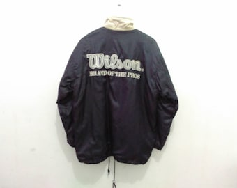Vintage 90s Wilson windbreaker jacket men medium embroidered wilson big logo spellout snap button Wilson fleece lining jacket
