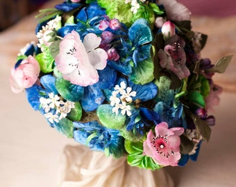 1930s/1940s fun floral cloche hat