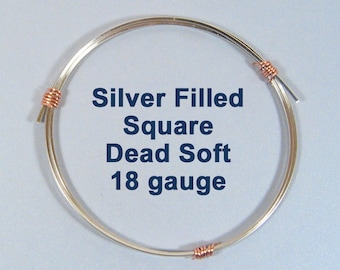 18ga DS SQUARE Silver Filled Wire - Choose Your Length