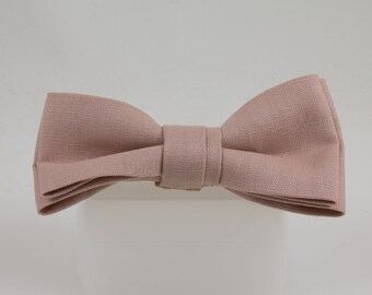 Mauve pink Clip-on Bow Tie Handmade, Linen Fabric Bowtie, Subtle pink great for guys Hipster Heirloom