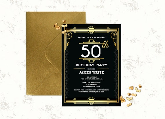Great gatsby birthday invitation template art deco invitation stopboris Image collections