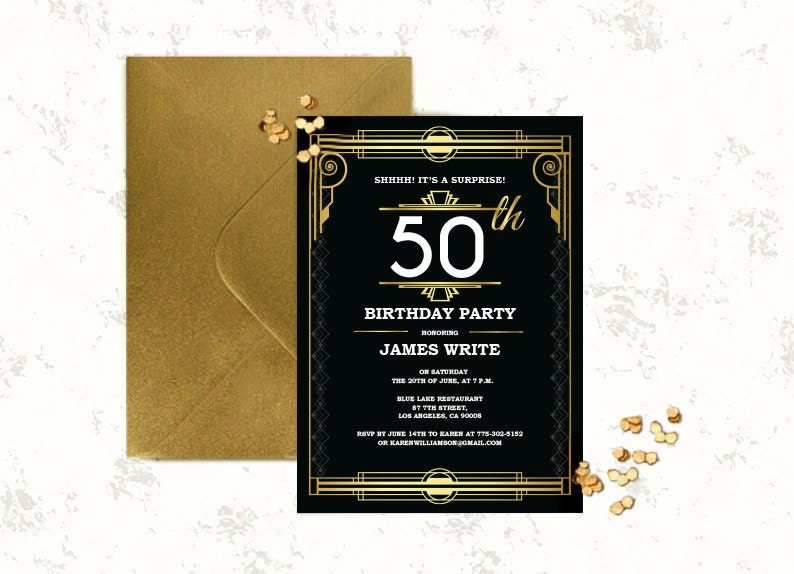 Great gatsby birthday invitation template Art deco invitation