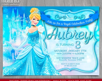 princess cinderella birthday invitation princess cinderella