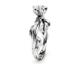 Diamond Engagement Ring Leaf Engagement Ring White Gold Ring Solitaire Diamond Ring