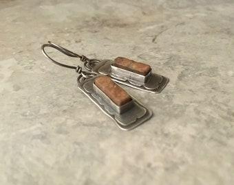 Rustic sterling silver earrings, textured layered metal, feldspar stone  earrings