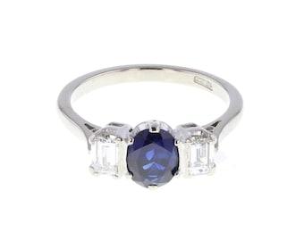Modern Sapphire and Diamond Three Stone Ring