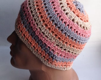 Hippy style Crochet beanie hat Chunky beanie Colorful beanie Summer beanie Knit beanie hat Knit hats Cotton beanie