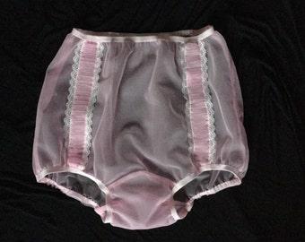 Sheer nylon pleat rockabily vintage style burlesque panties