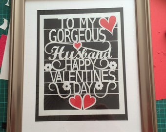 To my gorgeous husband on valentines day paper cut template personal use only