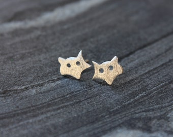 Fox studs, Fox sterling silver earrings, Minion earrings, Sterling silver stud earrings, minimalist stud earrings, dainty earrings,