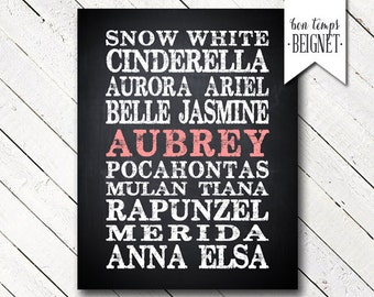 Disney Princesses PRINTABLE DOWNLOAD Cinderella, Snow White, Aurora, Ariel, Belle, Jasmine, Pocahontas, Mulan, Rapunzel, Merida, Elsa, Anna