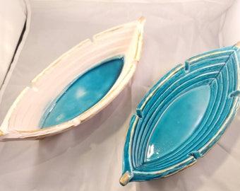 Set of two Pottery ash tray - boat shaped pottery ash tray