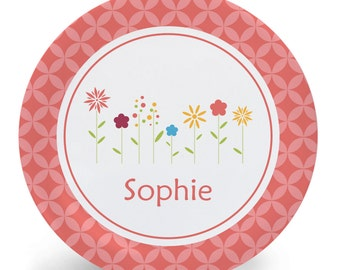 Flowers Plate - Melamine Bowl or Plate Custom Personalized with Childs Name