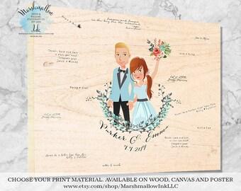 Wedding Guest Book - Wood Guest Book - Portrait Guest Book Alternative - Personalized Wedding Signs - Wedding Canvas, Custom Guestbook Ideas