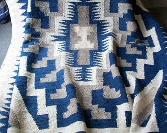 "Vintage Guatamalan Rug ~ Native Blanket or Bedspread ~ Handwoven 100% Cotton 61"" x 7' - Sturdy Heavy & Spectacular"